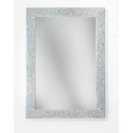 Specchiera in graniglia di vetro colore argento