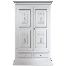 Armadio laccato bianco, decorato