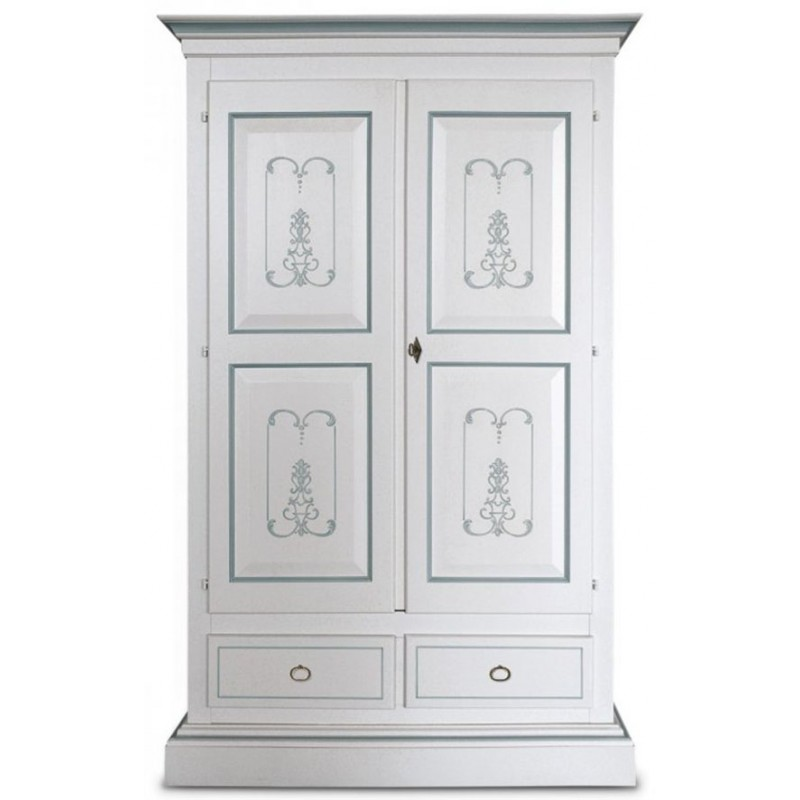 Armadio laccato bianco, decorato - Italian Decor Outlet