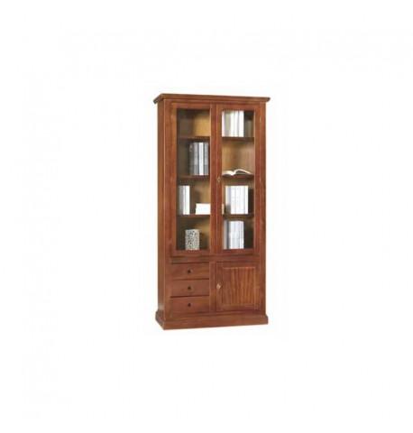 Vetrina in legno con due ante e tre cassetti. - Italian Decor Outlet